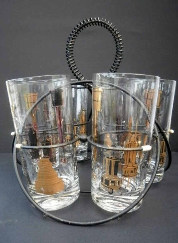 Vintage - Retro Gold/Black Glasses w/caddy