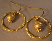Gold Hoop Earrings, gold earrings, hoop earrings, gold jewelry, gold bead earrings, gold bead