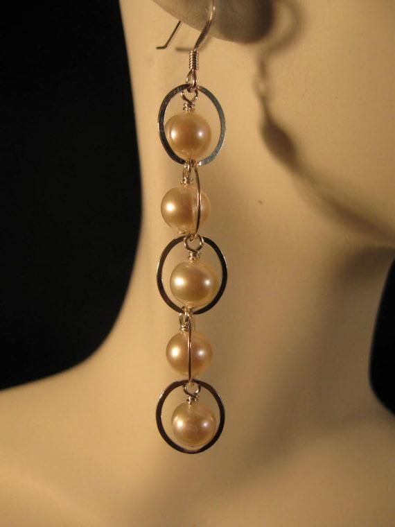 Cascading Pearl Silver Earrings - pearl earrings, silver earrings, cascading earrings, white pearl earrings, pearl jewelry