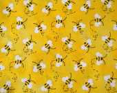 Honey Bees yellow fabric 100% cotton fabric - Listing for one yard