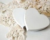 Vintage white wooden hearts ornaments