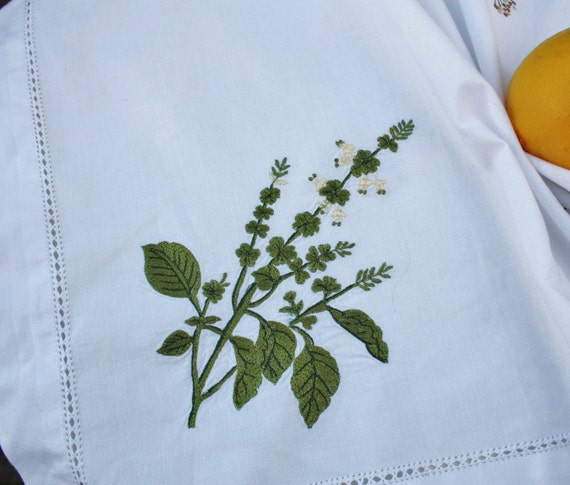 Lovely Italian Vintage Tablecloth with Embroidered Herbs - circa 1980s