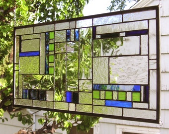 "Prairie School Style Blue & Green Geometric--12"" x  23""--Stained Glass Window Panel"