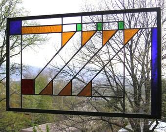 "Prairie School Style Hunt Window-- 13"" x 21""  Stained Glass Window Panel-"