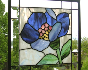 """Blue Lotus Flower--13.5"""" x 13.5"""" --Stained Glass Window Panel"""