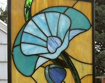 "Art Deco Poppy- 11' X 12""--Stained Glass Window Panel"