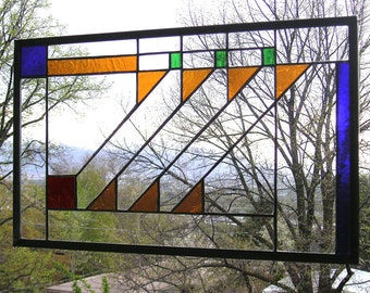 """Prairie School Style 12.5"""" x 21""""  Stained Glass Panel"""