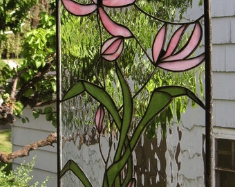 """Pink Cosmos Blooming--15"""" x 26""""--Stained Glass Window Panel"""