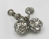 Eco Bride - Crystal Balls Hanging Screw On Earrings