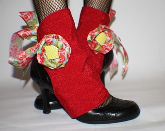 SALE - Flowery Summer Red Spats