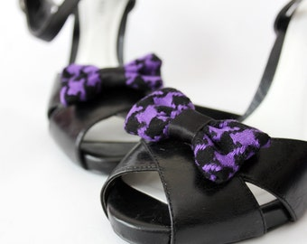 Shoe Clips -  Houndstooth Purple Bows. Shoe Accessories. Handmade. Upcycled Fabric