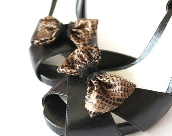 Shoe Clips - Snakeskin print bows. Shoe Accessories. Upcycled Fabric.