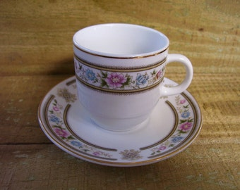 Cup and Saucer-Small-Floral-Vintage