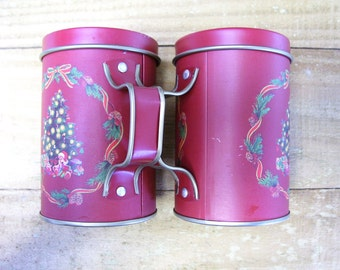 Christmas Salt and Pepper Shakers - Tin - Vintage