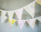 Pastel Fabric Bunting Banner / Baby Girl Bunting / Vintage Nursery Decor / Garden Tea Party / Baby Shower Decoration / Flag Garland