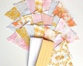 DIY Bunting Kit - Yellow, Gray, Pink and Peach Vintage Fabrics