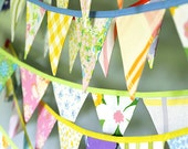 Colorful Bunting - Vintage Fabrics - Three 10' Lengths - Fabric Flag Banner Garland - Baby Shower - Party Decoration - Photography Prop