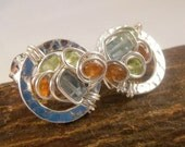 Cobblestone sterling silver stud post earrings Earth brown jasper, aquamarine, and peridot semiprecious stones
