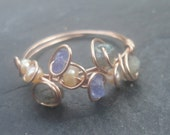 14K rose gold ring Labradorite, tanzanite, peach pearls- perfect for June birthday You choose the stones