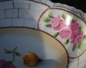 Textured Painted China Bowl with Pink Cabbage Roses Demure Shabby Cottage Rose