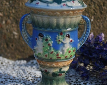 Japanese Majolica Grecian Cherub Scene Small Urn Blue Green