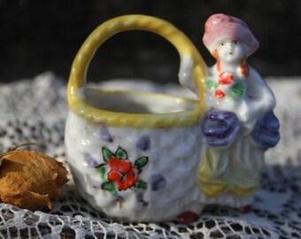 Lady and Basket Ceramic Vintage Figurine Trinket Ring Catcher Toothpick Holder Made in Japan