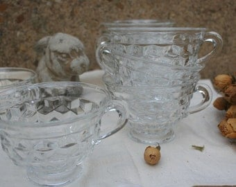 Vintage Set of 7 Fostoria Clear Glass Tea Cups American Pattern Serving Dishes Tea Party