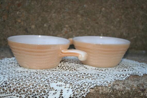 Set of 2 Vintage Fire King Peach Lustreware Handled Soup Cereal Bowls