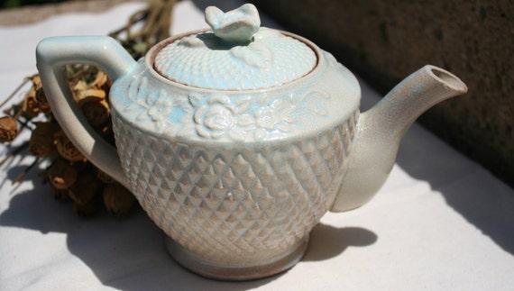 Beautiful Very Old Light Robins Egg Blue Aqua Petite Teapot Raised Diamond Pattern with Roses