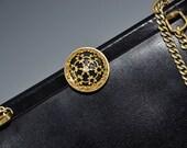 Black Vinyl Purse Shoulder Bag Filigree 60s Bag Mad Men Retro Monet Designer Vintage - 2482