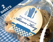 2 sheets of Custom From the Kitchen labels, 2 inch round blue stickers for canning jars or baked goods, regular or wide mouth