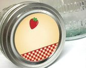 Country Strawberry Canning jar labels 2 inch round stickers for mason jars, for jam, jelly, and fruit preservation