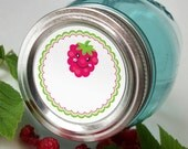 Happy Raspberry Canning Jar labels, 2 inch round stickers for mason jars, fruit preservation