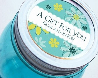 Custom flower design gift labels great for canning jars or presents, 2 inch round stickers, regular or wide mouth available