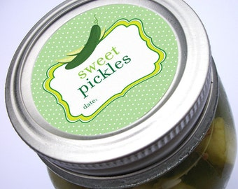 Cute Dill, Sweet, Bread & Butter Pickle, and Relish canning jar labels, round canning labels, regular and wide mouth mason jar labels