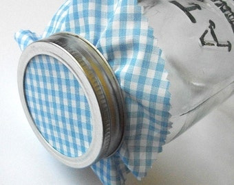 12 Blue Gingham Jam Jar Covers, fabric jar covers, Cloth Toppers fabric for mason jars, food preservation, shower favor jars