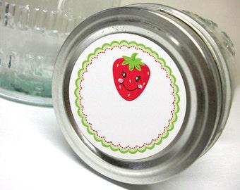 Happy Strawberry canning jar label, round mason jar stickers for fruit preservation, regular or wide mouth jam jar labels for farmers market