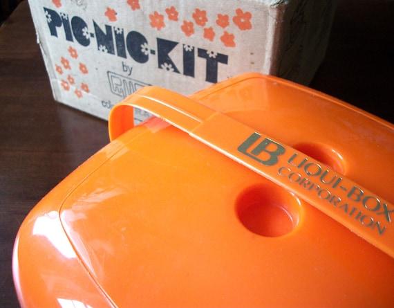 SALE Vintage Orange 1970s Picnic Kit 35 pieces