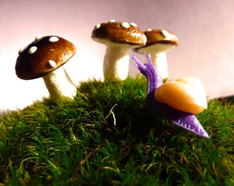 Handmade THREE Mushrooms for your terrarium . . . and your Fairies  . . .
