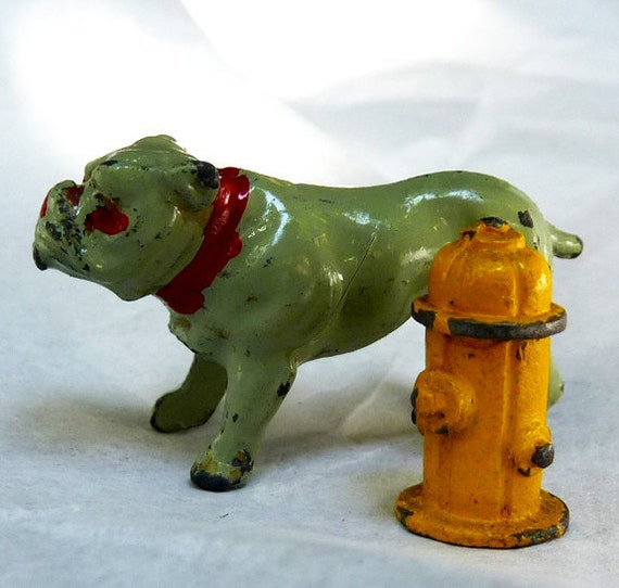 RARE Bulldog . . . with fire hydrant . . . The dog . . . man's best friend