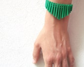 RESERVED for cordely - green sticks through clear beads  bracelet - FREE SHIPPING