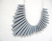 grey sticks with white round beads necklace - pergamondo