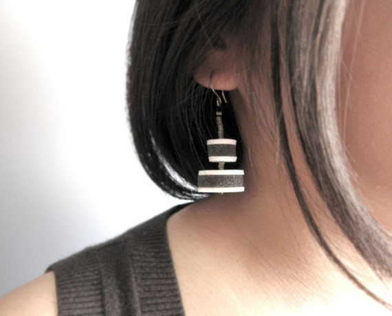 white and grey discs with grey beads  earrings