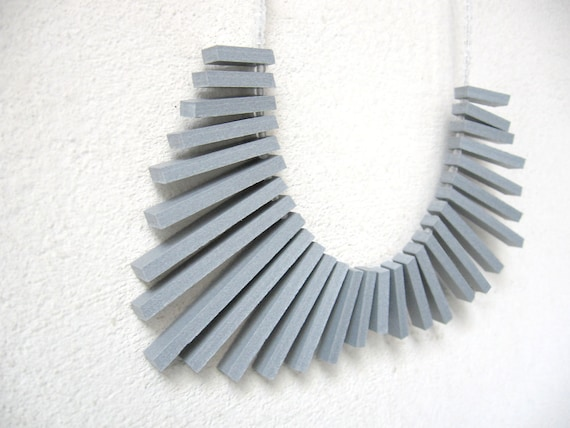 grey sticks with white round beads necklace