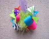 Hair Bow---MINI Funky Fun Over the Top Bow---Funky Cheetah Rock Star--Lime, Pink, Orange, Purple, Turquoise, Cheetah, and Zebra print