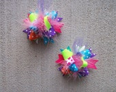 Hair Bows Set  2---MINI Funky Fun Over the Top Bows---Funky Brights--- Pink, Turquoise, Lime Green, Orange and Purple
