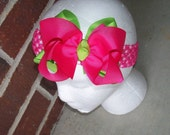 Hair Bow---Boutique Double Layer Bow----Hot Pink and Lime---Perfect for SPRING