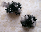Hair Bows Set of 2---Mini Funky Fun Over the Top Bows----Black and Gray---Great Colors