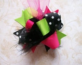 M2M Peaches N Cream--Hair Bow---MINI Funky Fun Over the Top Bow---Pink, Lime and Black