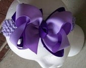 Hair Bow---Boutique Double Layer Bow----Purple and Light Purple---